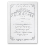 Vintage Celebration - White - Featherpress Invitation