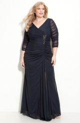 Adrianna Papell Beaded Mesh Gown Plus