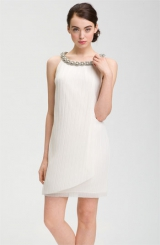 Donna Ricco Embellished Neck Chiffon Shift Dress