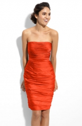 ML Monique Lhuillier Bridesmaids Strapless Ruched Cationic Chiffon Dress Nordstrom Exclusive