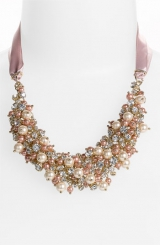 Nina 'Melaney' Ribbon & Cluster Bib Necklace