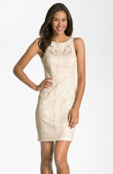 Sue Wong Illusion Bodice Lace Sheath Dress