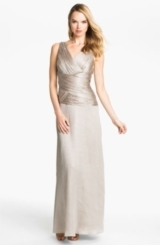 Calvin Klein Ruched Bodice Textured Column Gown