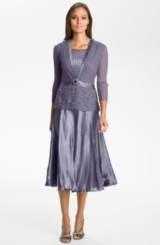 Komarov Pleated Charmeuse Dress & Chiffon Jacket