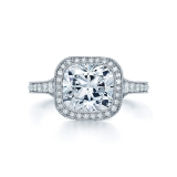 Cushion Diamond and Platinum Ring with a Diamond Frame with a Milgrain Edge