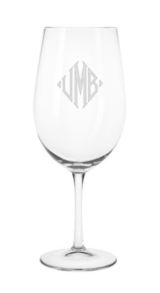 Cheeky  Monogrammed White Wine Glass by CLINK