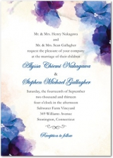Soft Bougainvillea Signature White Textured Wedding Invitations Cobalt