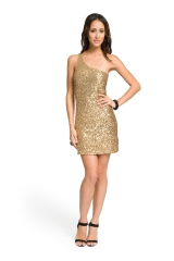 Gold One Shoulder Sequin Dress