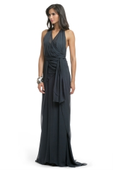 Prussian Chiffon Draped Gown