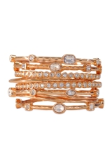 Rose Gold Scalloped Bangle Set