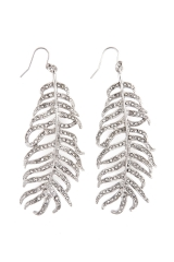 Silver Crystal Feather Earrings
