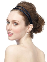 Double Headband in Matte Satin in midnight