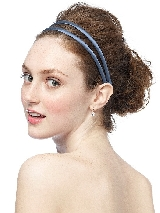 Double Headband in Matte Satin in windsor blue