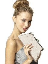 Dupioni Trapezoid Clutch with Jeweled Clasp in champagne