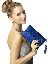 Quilted Envelope Clutch with Tassel Detail in sapphire