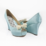 "4"" camelia-quilted garden wedge with crystal button back and detachable pearl bow shoe clip. Availab"