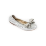 Camellia-quilted ballet flat. Available in Robins Egg leather, Antique Brushed Silver leather, white