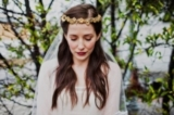Brass flowers and leaves crown with silk ribbon ties and crystal beaded alencon lace tulle veil comb