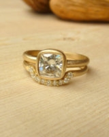 Cushion Cut Moissanite Ring and Diamond Fitted Band