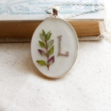 Initial jewelry personalized pressed flower necklace herb thyme botanical Pendant - resin jewelry sp