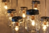 Mason Jar Chandelier - Mason Jar Light - Canopy Style Large Swag Light - BootsNGus Lamp Design - Han
