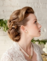 Bridal Hairstyle Idea, Vintage Bun, Vintage Bridal Photograph