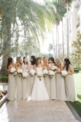 Ivory Bridesmaid Dresses, Ivory and Gold Bridesmaids, Ivory and Gold Accessories