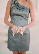 one shoulder silvery green bridesmaid dress