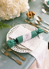 blue wedding favor place setting