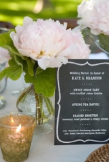 chalkboard inspired menu wedding