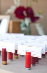 creative escort card display shotgun shells