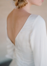 satin wedding dress with sleeves and deep V back