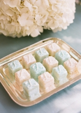 blue and white petits fours wedding