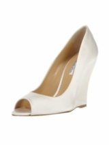 SATIN PEEPTOE WEDGE PUMP