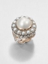 Cultured Pearl, Sterling Silver and 18K Yellow Gold Ring