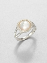 Diamond, Mother-of-Pearl and Sterling Silver Ring