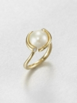 White Freshwater Pearl, Diamond and 18K Yellow Gold Ring