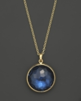 Ippolita 18K Gold Rock Candy Lollipop Pendant Necklace in London Blue Topaz, 16