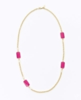 Enamel Rectangle Long Station Necklace