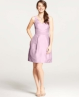 Silk Dupioni V-Neck Dress