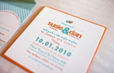 Retro Orange and Aqua Wedding Invitations