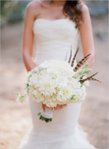 white feather wedding bouquet