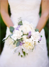 purple white bridal bouquet