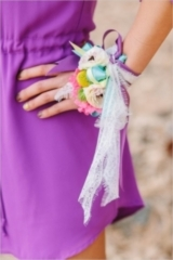 bright colored engagement corsage