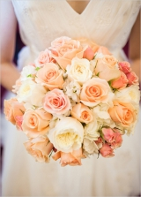 peach rose wedding boquet
