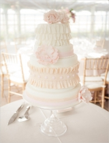 peach and pink wedding cake