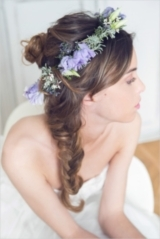 messy braid wedding hair with floral crown