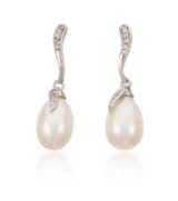 Thomas Laine Pearls Sterling Silver White Topaz Freshwater Pearl Drop