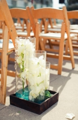 Modern white, green & aqua wedding 12