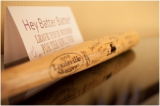 baseball bat guestbook idea classic purple and yellow wedding